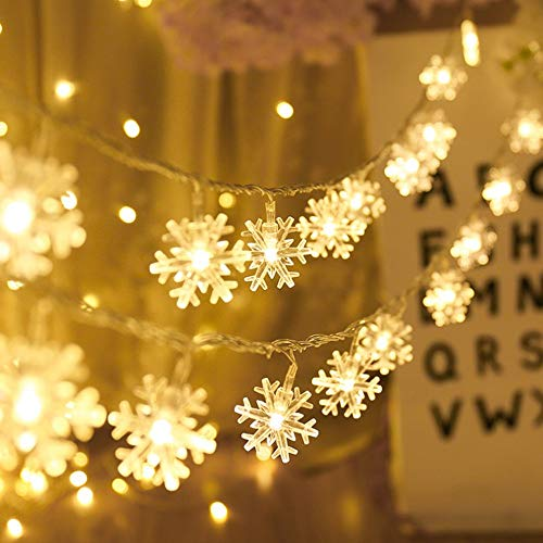Christmas String Lights, 19.6 ft 40 LED Fairy Lights Battery Operated Waterproof for Xmas Garden Patio Bedroom Party Decor Indoor Outdoor Celebration Lighting, Warm White (Snowflake)
