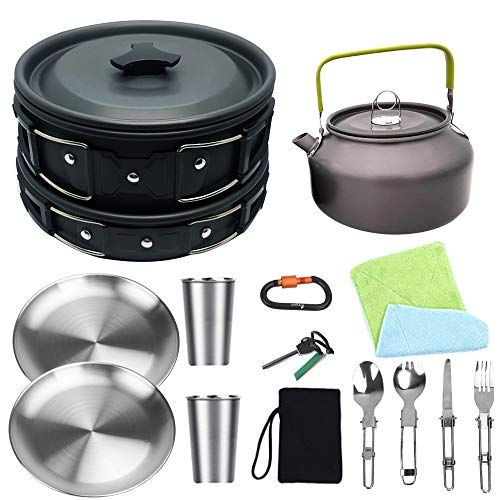 Bisgear Camping Cookware Kettle Heavy 18/8 Dinner Plate...