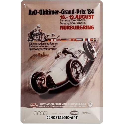 Nostalgic Art Audi - AvD Oldtimer Grand Prix - Geschenk-Idee für Auto-Fans Blechschild 20x30 cm, aus Metall, Bunt, 20 x 30 cm