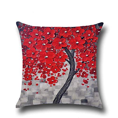 Hengjiang modernista stile albero e fiore pittura a olio cuscino copre 120g spessore rosso giallo blu grigio lino cotone fronte-retro piazza federa cuscino per sedia casa divano letto Decor 02