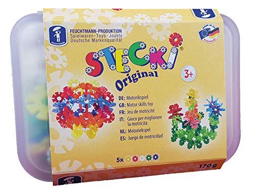 Feuchtmann 621.0561 - STECKi Konstruktions-Set Box Midi, Stecksteine inkl. Brotdose, Steckspiel 3+, 170 g, ideal als Geschenk für kreatives Spielen