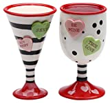 StealStreet SS-CG-62363, 3.5 Inch Valentine Wine and Martini Cups Salt and Pepper Shakers