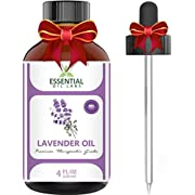 Lavender Essential Oil - Highest Quality Therapeutic Grade Backed by Research - Largest 4 Oz Bottle with Premium Glass Dropper - 100% Pure and Natural - Guaranteed Results - Essential Labs
