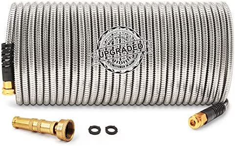 Cesun 100 Feet 304 Stainless Steel Metal Garden Hose with Solid Brass Nozzle, Lightweight Portable Durable Cool to The Touch, Flexible and No Kink, Tangle Puncture Resistant (100 Feet Upgraded)