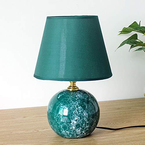 WWWL Lámpara de escritorio de cerámica moderna dormitorio lámpara de mesa de noche habitación de los niños nórdico rosa boda pastoral lindo escritorio lámpara verde