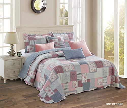 THL - Juego de colcha estampada con almazuela y 2 fundas de almohada, estilo vintage, algodón, Fince Decore, doble/king