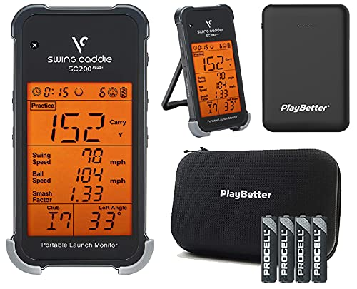 Swing Caddie SC200 Plus+ by Voice Caddie Portable Golf Launch Monitor Bundle | with PlayBetter Protective Case, AAA Batteries (x4) & Portable Charger | Doppler Radar | Smash Factor, Ball Flight