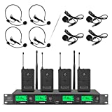 Wireless Microphone System Pro Audio UHF 4 Channel 4 Lavalier Bodypacks 4 Lapel Mic 4 Headsets for Karaoke System Church Speaking Conference Wedding Party