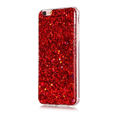 "IKASEFU Luxury Shiny Bling Glitter Sequins Thin Tpu Rubber Case Cover Compatible with iPhone 6/6S 4.7""-Red"