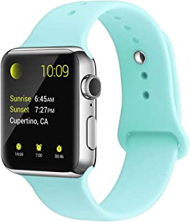 YunTree Compatible with Apple Watch Band 38mm/40mm M/L Size iWatch Sports Band Replacement for Women Man Apple Watch Series 4/3/2/1 Size Comfortable Silicone Strap-Turquoise