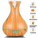 PEYOU Humidificador Ultrasónico Aromaterapia 400ml, Difusor de Aromas, Difusor de Aceites Esenciales de Vapor Frío con Auto-Apaga, 3-Ajuste de Tiempo Fijo, 7-Color LED para Hogar, Oficina, Yoga