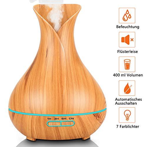 Aroma Diffuser, PEYOU 400ml Ultraschall Öl Diffusor Holzmaserung Luftbefeuchter Aromatherapie Zerstäuber mit 7 Farben LED Licht Nachtlicht für Babies Kinder Haus Yoga Büro