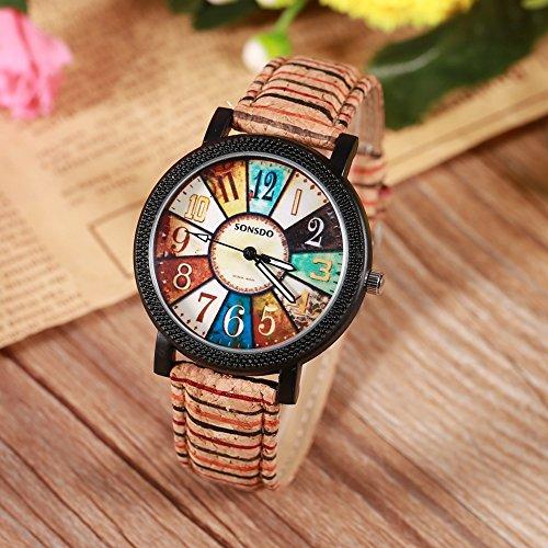 Relojes Unisex, Reloj de Pulsera de Cuarzo Casual de Moda Reloj de Cuarzo Simple Reloj de Banda de Cuero de PU Reloj de mar giradiscos Colorido(Tipo 1)