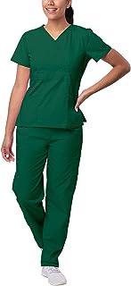 Sivvan Women's Scrub Set - Multi Pocket Cargo Pants & Stylish Mock Wrap Top - S8401 - Hunter Green - 3X