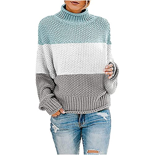 Winter Women's Turtleneck Long Batwing Sleeve Knit Sweater Loose Stripe Color Block Chunky Knitted Tops Pullover Jumper