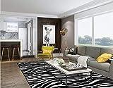 LAMEDER Diseñador de la casa Sala de Estar Dormitorio Suave geométrica en Blanco y Negro patrón de Rayas de Cebra Alfombra de cabecera en casa, 140x200cm