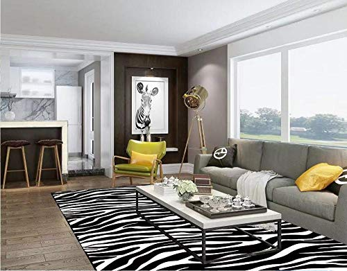 LAMEDER Diseñador de la casa Sala de Estar Dormitorio Suave geometría Blanco y Negro Rayas de Cebra patrón hogar Alfombra de Noche, 160x200cm