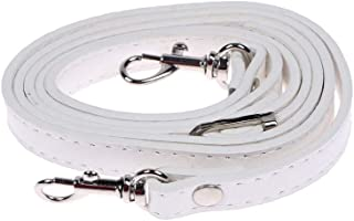 RAYNAG Leather Crossbody Strap Replacement, Adjustable Purse Strap, Handbag Shoulder Strap Replacement with Silver Hardware, White