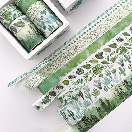 Washi-Klebeband, Kaktus-Tagebuch, dekoratives Klebeband, selbstklebend, für Scrapbooking, Aufkleber, Etiketten, Masken, 8 Stück B