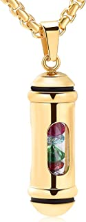 Window Of Glass Cremation Necklace Holder Cylinder Memorial Jewelry Urn Necklace For Ashes For Women Men Keepsake Pendant