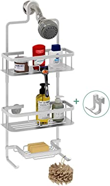 UDENIS Haning Shower Cadddy 3Tier Bathroom for Shampoo,Conditioner,Soap,with Hooks for Razors,Towels,Hanging Head Caddy Organ