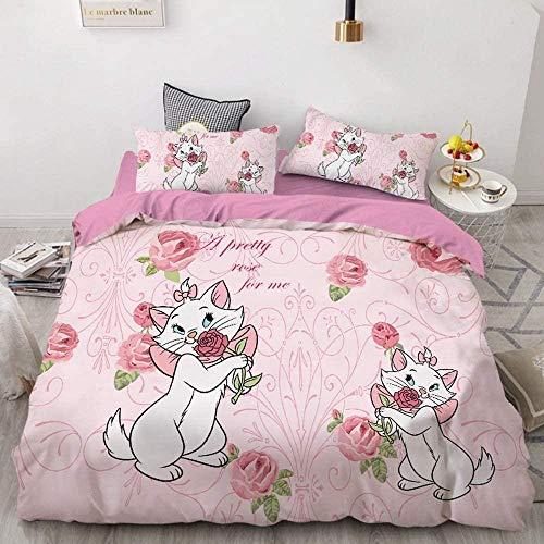 Solopipe Funda de edredón y funda de almohada de microfibra para 1/2 persona juego de ropa de cama 3D estampado animal motivo para dormitorio/habitación infantil motivo gato y gatito (08 220 x 240)