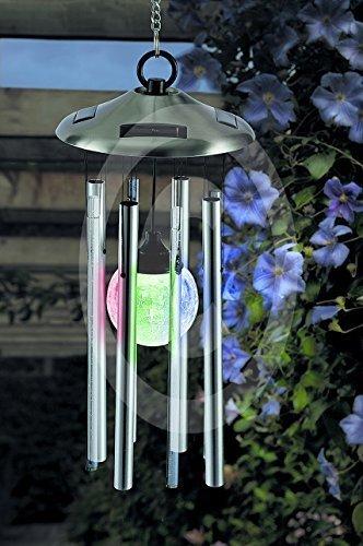 LED Solar Windspiel Edelstahl Echtglas XL mit Kristall Kugel in der Mitte mit LED Beleuchtung - Komi aus Windspiel beleuchtet und Klangspiel - Premium Qualität