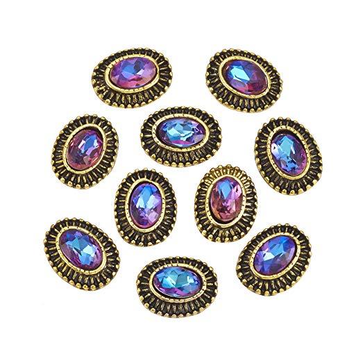 Scopri offerta per PandaHall 10 pc Oro Antico Cabochon ovali Cabochon in Strass Blu Violetto in Lega 10.5x8.5x3.5mm per la Decorazione delle Unghie