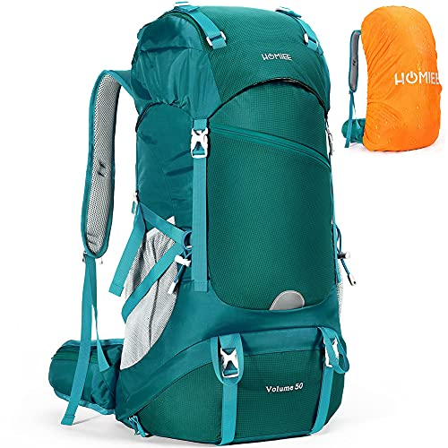 HOMIEE 50L Hiking Backpack, Waterproof Travel Backpack with Rain Cover, Hiking Daypacks for Outdoor Sports, Camping, Climbing