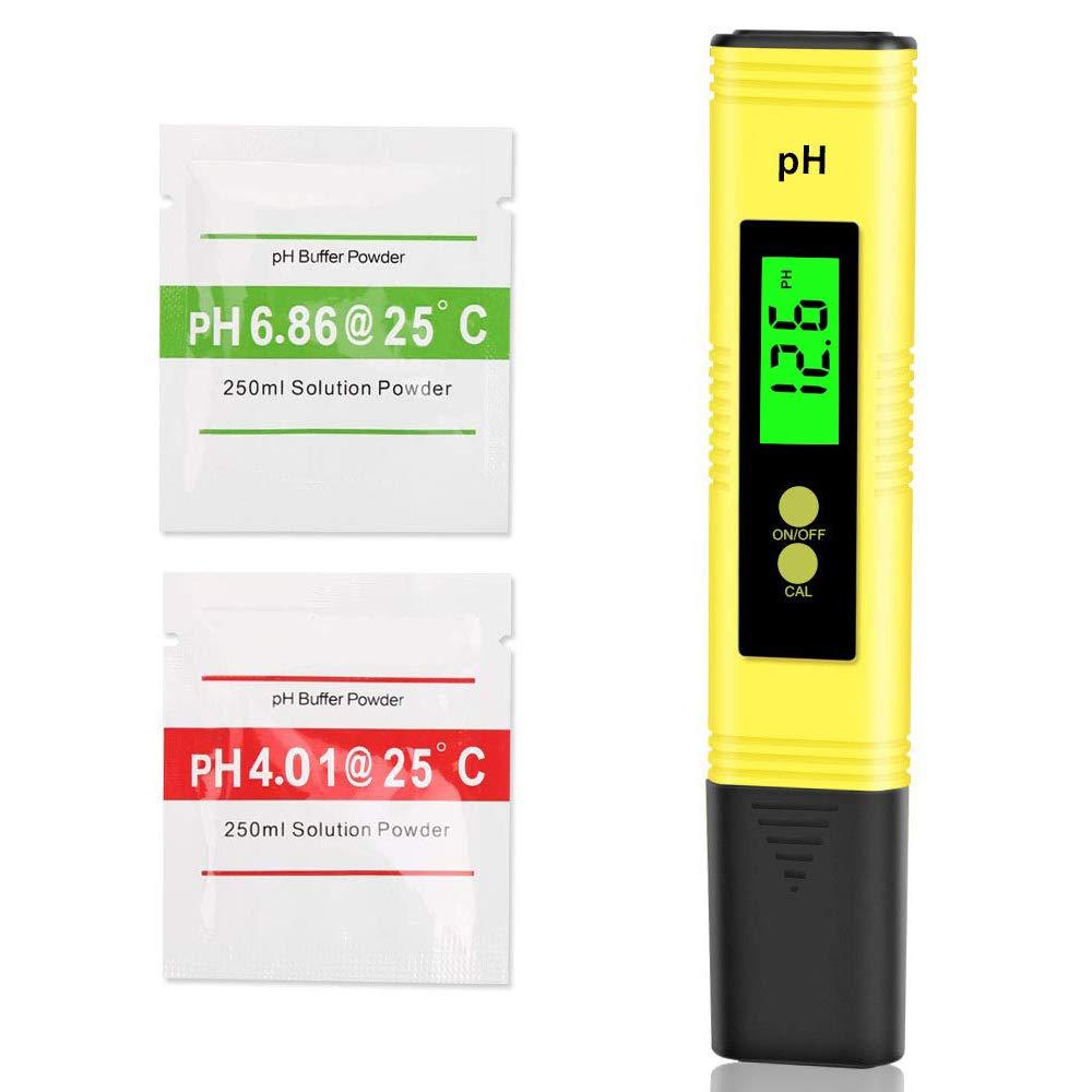 Medidor PH, Medidor de Prueba de Calidad del Agua con Pantalla LCD, Portátil 0.00-14.00ph Rango Medición Probador de pH, Monitor de Medidor valor Ph para Piscina, Acuario, Laboratorio, Amarillo