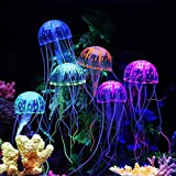 Dasiter Small Silicone Artificial Fake Jellyfish Ornament Decoration for Aquarium Fish Tank, Glowing Effect Under Actinic Lighting, Pack of 6
