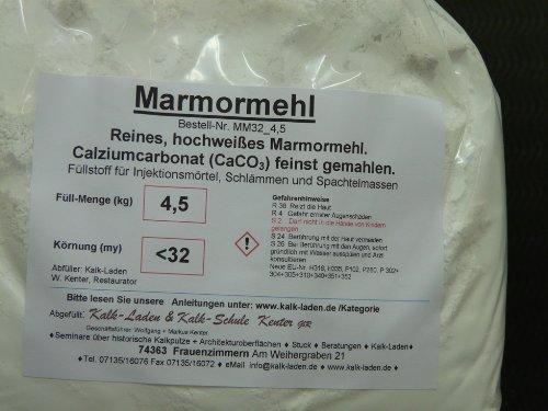 Marmormehl. Sehr weiss. 100% BIO. Feinst gemahlen (kleiner 32my). 4,5kg-Beutel