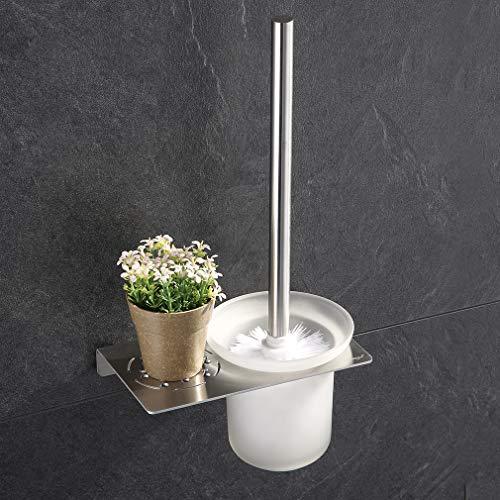 ubeegol Edelstahl WC Bürste und Halter Bohren für Wandmontage WC Bürstenhalter WC Garnitur Inkl. Toilettenbürste, Matt Glas, Halter