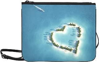 Yacht Heading To Heart Shaped Island Pattern Custom High-grade Nylon Slim Clutch Bag Cross-body Bag Shoulder Bag