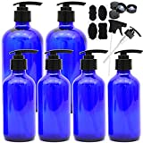 Youngever 6 Pack Empty Blue Glass Pump Bottles, 2 Pack 16 Ounce and 4 Pack 8 Ounce Pump Bottles, Soap Dispenser, Refillable Containers for Essential Oils, Cleaning Products, Lotions, Aromatherapy