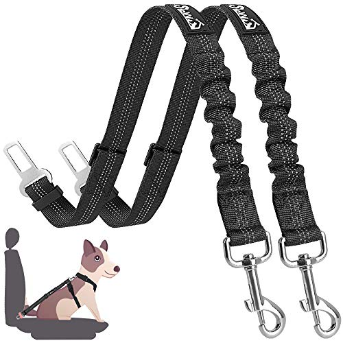 SlowTon Dog Seat Belt, 2 Pack Adjustable Pet Car Seatbelt Elastic Bungee Buffer Heavy Duty Reflective Nylon Safety Belt Connect to Dog Harness in Vehicle Travel Daily Use (Black)