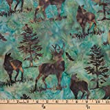 Hoffman 0668253 Bali Batik Deer Earth Fabric Stoff, By the