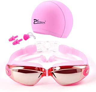 ZHENYA Swim Goggles Swimming Goggles No Leaking Anti Fog UV Protection Swim Goggles with Nose Guard Protection Case for Adult Men Women Youth Kids Child Swim Set Swim Cap, Nose Clip, Earplugs