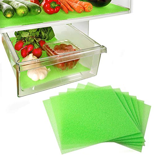 Dualplex Fruit & Veggie Life Extender Liner for Fridge Refrigerator Drawers, 12 x 15 Inches (6 Pack) – Extends The Life of Your Produce & Prevents Spoilage