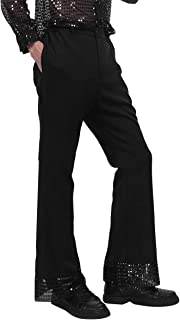 Men's Sequins Cuffs Disco Dude Costume Retro 70's Disco Pants Dance Long Trousers Bell Bottoms