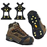 Ice Snow Grips Traction Cleats, 10 Steel Studs Anti Slip Ice Cleats Spikes Rubber Crampons for Snow Shoes and Boots Ice Walking, Ice Fishing, Hiking, Men Women Universal crampons Ice Cleats