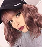 Short Grey Pink with Bangs for Women Shoulder Length 12' Pink Bob Wavy Wigs Synthetic Cosplay Daily Wig