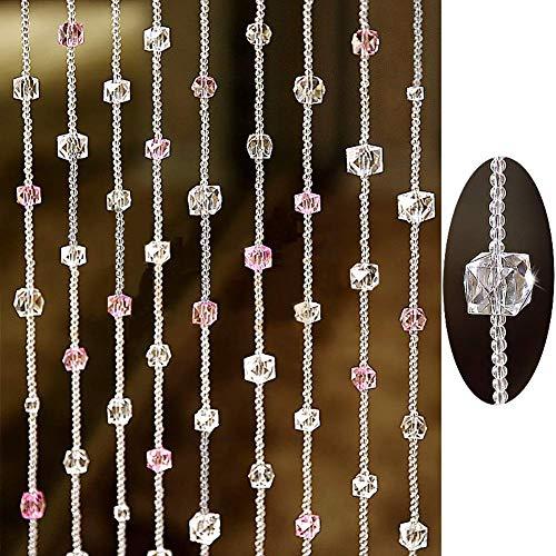 ZXL Kralen gordijn met kristal glas voor deur slaapkamer decoratie divider slaapkamer woonkamer kast balkon (kleur: A, grootte: 20 strengen-60cmx100cm)