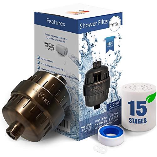 15 Stage Shower Filter - Shower Head Filter - Chlorine Filter - Hard Water Filter - Water Softener - Showerhead Filter - Water Filter For Shower Head - Oil-Rubbed Bronze