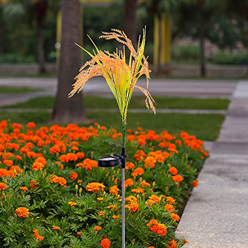 Outdoor Solar Lights Garden Lights, Artificial Rape Flower, Rice Grain Plant Lights Decorative Stake, 3 Head Upgraded Led Solar Powered Lights, Waterproof for Patio, Lawn, Yard Decoration (B 1PC)