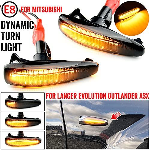 MKptopia Lâmpada LED de seta pisca-pisca sequencial compatível com Mistubishi Outlander Sport Mirage Sport Lancer Evolution X Light Car Dynamic Side Marker indicador LED