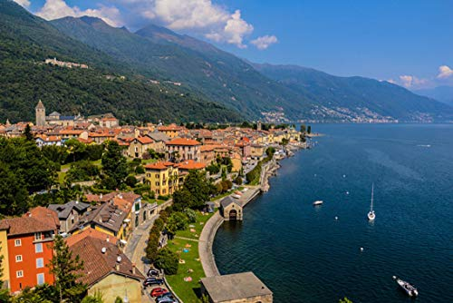 Wall Art Print on Canvas(32x21 inches)- Lago Maggiore Lake Italy Landscape Panorama