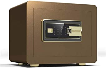 OFF Safety Cabinet, Mini Small Home Office Smart Fingerprint Password Safe Office Supplies (Color : Brass) (Color : Brass)