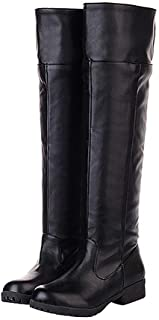 Attack on Titan Womens Fashion Leather Knee-high Riding Boots Cosplay Shoes (Black, 7)