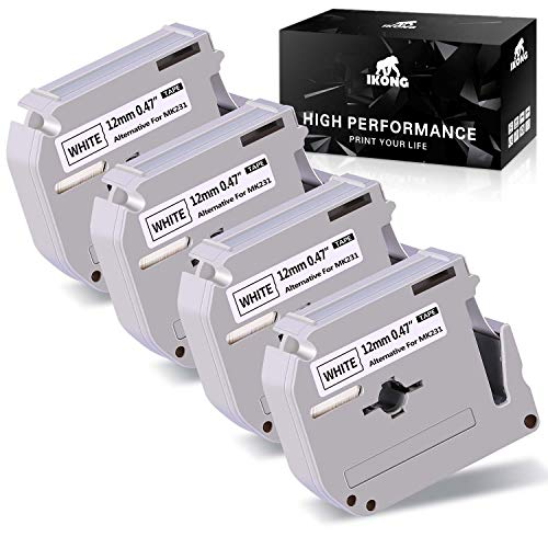 IKONG Compatbile Replacement for Brother M231 M-231 M-K231 MK231 Label Tape, 0.47 Inch x 26.2 Feet, Used in Brother PT-M95 PT-90 PT-80 PT-70BM PT-70SR PT-70 PT-65 Label Marker, Black on White, 4 Pack